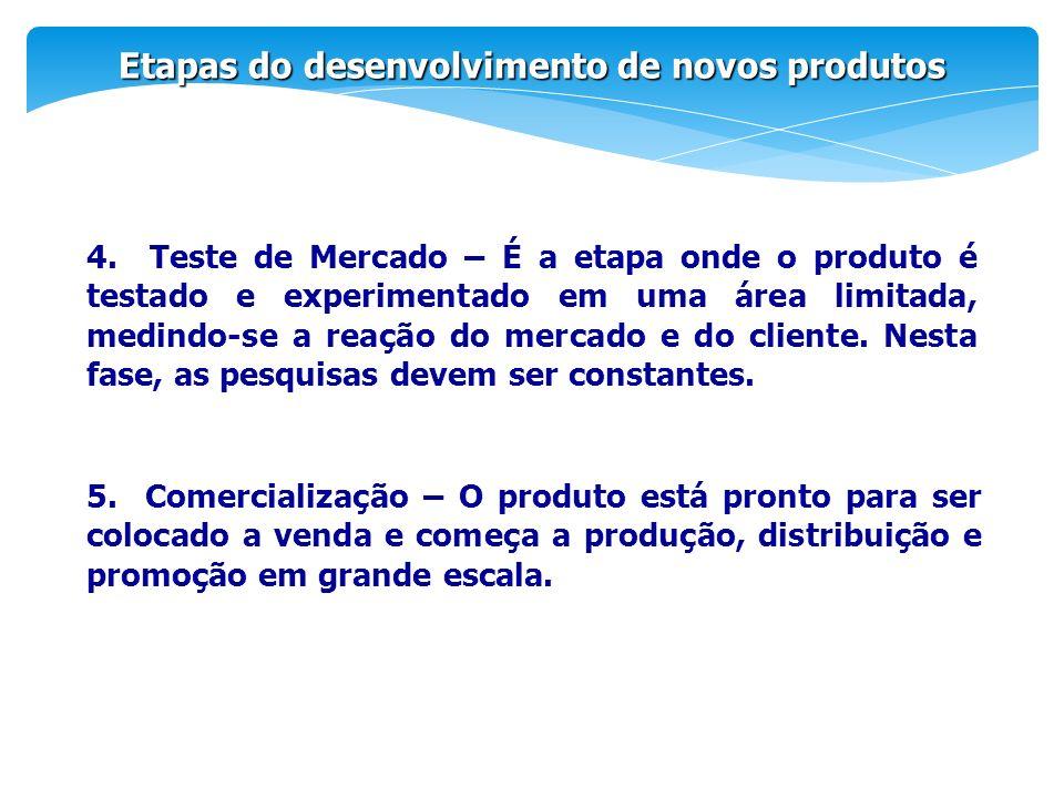 Etapas do desenvolvimento de novos produtos 4. Teste de Mercado – É a etapa onde o produto é testado e experimentado em uma área limitada, medindo-se