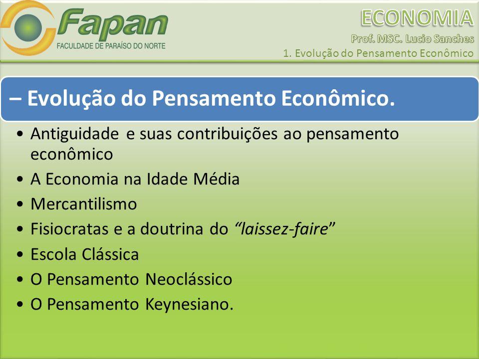 – Evolução do Pensamento Econômico. Antiguidade e suas contribuições ao pensamento econômico A Economia na Idade Média Mercantilismo Fisiocratas e a d