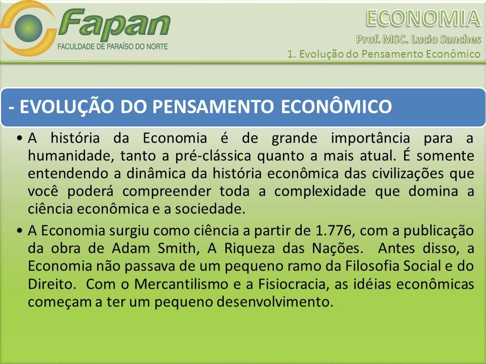 - EVOLUÇÃO DO PENSAMENTO ECONÔMICO A história da Economia é de grande importância para a humanidade, tanto a pré-clássica quanto a mais atual. É somen