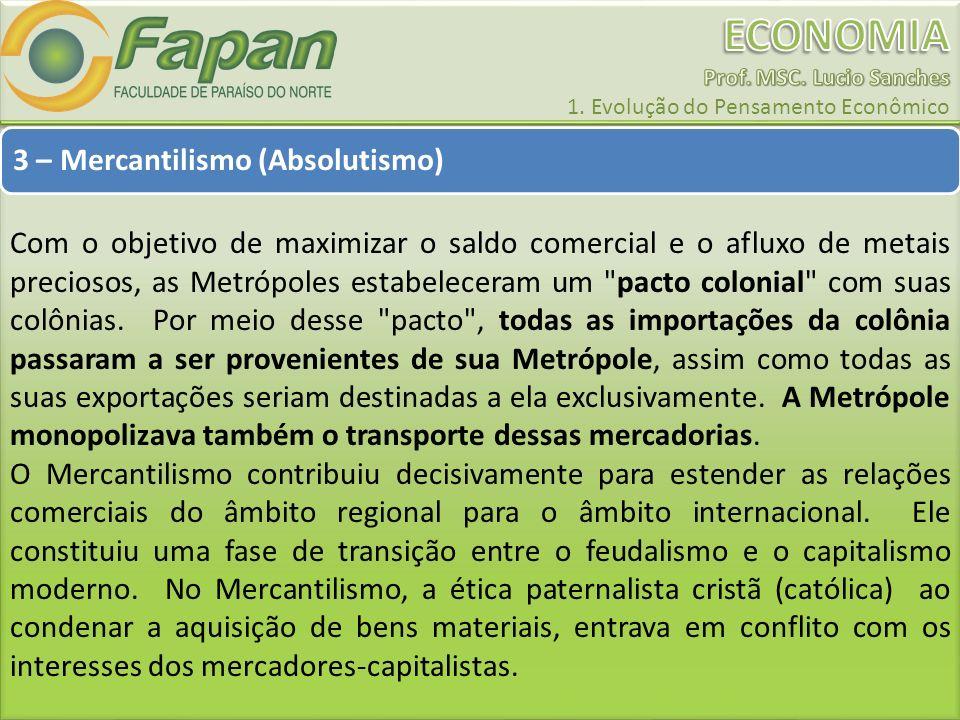 3 – Mercantilismo (Absolutismo) Com o objetivo de maximizar o saldo comercial e o afluxo de metais preciosos, as Metrópoles estabeleceram um