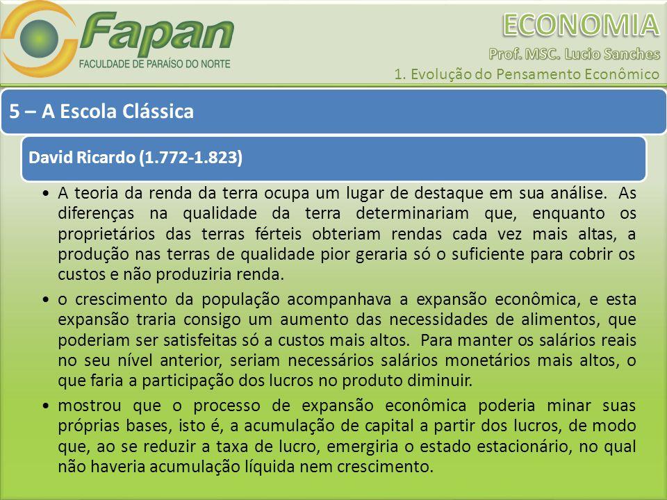 5 – A Escola Clássica David Ricardo (1.772-1.823) A teoria da renda da terra ocupa um lugar de destaque em sua análise. As diferenças na qualidade da