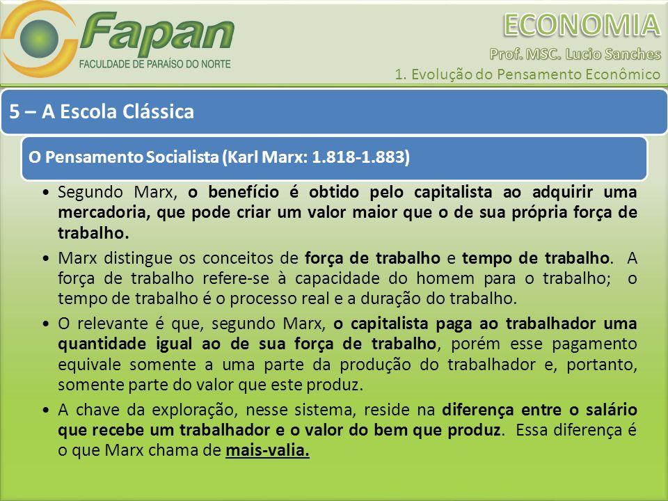5 – A Escola Clássica O Pensamento Socialista (Karl Marx: 1.818-1.883) Segundo Marx, o benefício é obtido pelo capitalista ao adquirir uma mercadoria,