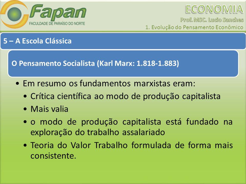 5 – A Escola Clássica O Pensamento Socialista (Karl Marx: 1.818-1.883) Em resumo os fundamentos marxistas eram: Crítica científica ao modo de produção