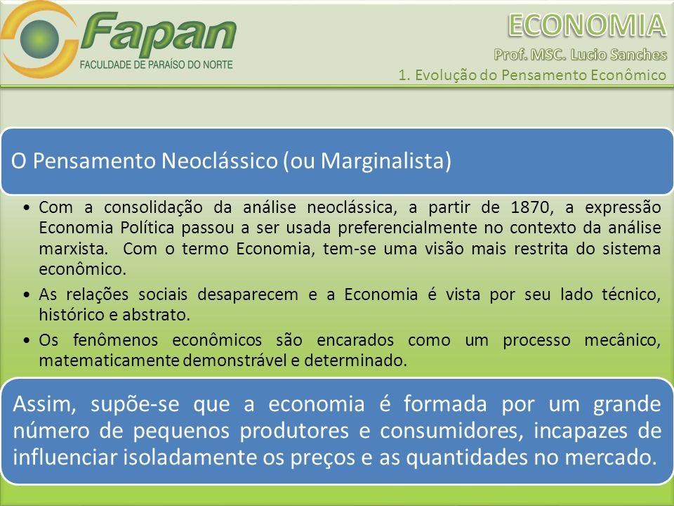 O Pensamento Neoclássico (ou Marginalista) Com a consolidação da análise neoclássica, a partir de 1870, a expressão Economia Política passou a ser usa