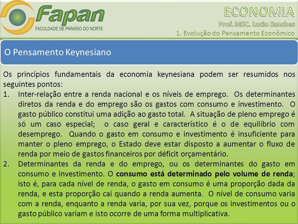O Pensamento Keynesiano Os princípios fundamentais da economia keynesiana podem ser resumidos nos seguintes pontos: 1.Inter-relação entre a renda naci