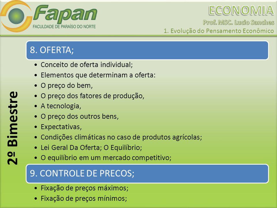 8. OFERTA; Conceito de oferta individual; Elementos que determinam a oferta: O preço do bem, O preço dos fatores de produção, A tecnologia, O preço do