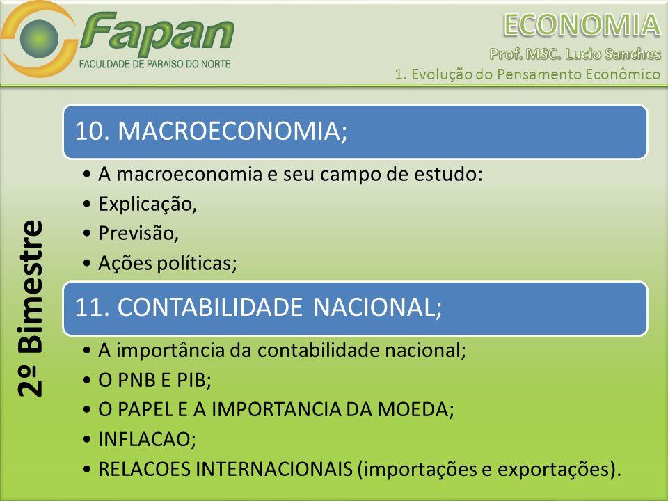 10. MACROECONOMIA; A macroeconomia e seu campo de estudo: Explicação, Previsão, Ações políticas; 11. CONTABILIDADE NACIONAL; A importância da contabil