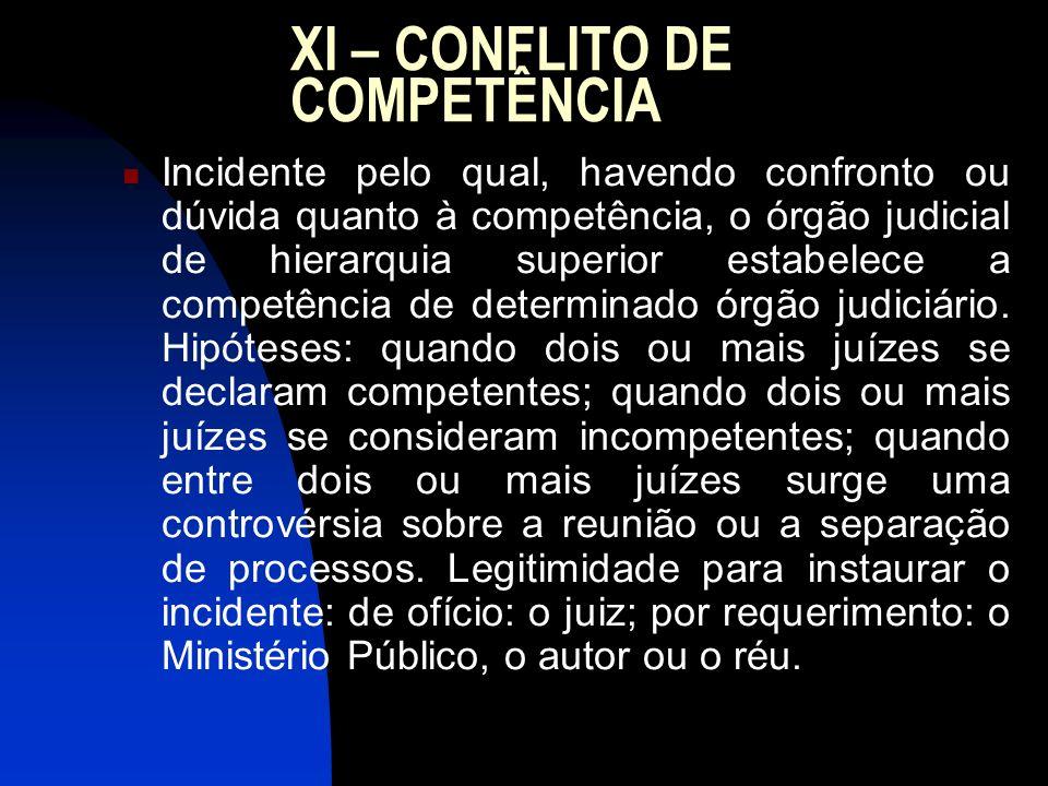 XI – CONFLITO DE COMPETÊNCIA Incidente pelo qual, havendo confronto ou dúvida quanto à competência, o órgão judicial de hierarquia superior estabelece