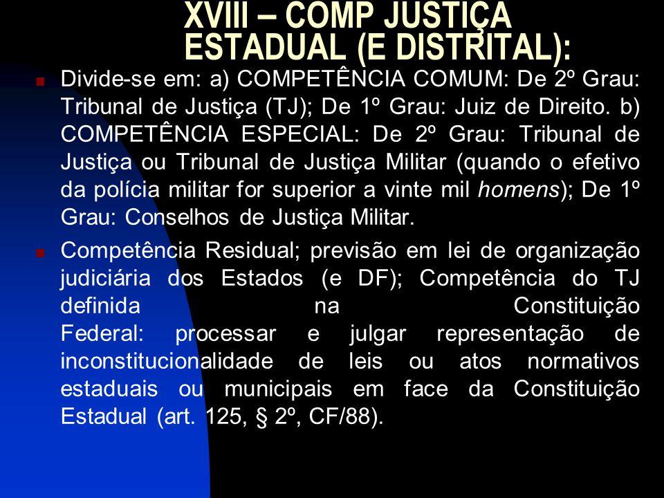 XVIII – COMP JUSTIÇA ESTADUAL (E DISTRITAL): Divide-se em: a) COMPETÊNCIA COMUM: De 2º Grau: Tribunal de Justiça (TJ); De 1º Grau: Juiz de Direito. b)