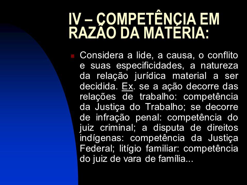 IV – COMPETÊNCIA EM RAZÃO DA MATÉRIA: Considera a lide, a causa, o conflito e suas especificidades, a natureza da relação jurídica material a ser deci