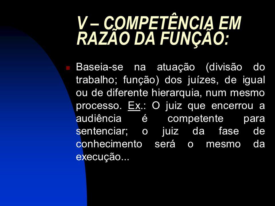 V – COMPETÊNCIA EM RAZÃO DA FUNÇÃO: Baseia-se na atuação (divisão do trabalho; função) dos juízes, de igual ou de diferente hierarquia, num mesmo pro