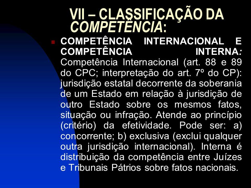 VII – CLASSIFICAÇÃO DA COMPETÊNCIA : COMPETÊNCIA INTERNACIONAL E COMPETÊNCIA INTERNA: Competência Internacional (art. 88 e 89 do CPC; interpretação do