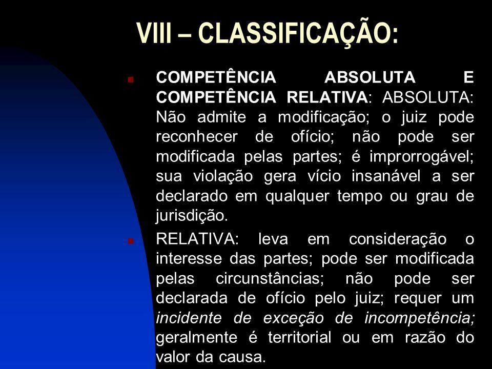 VIII – CLASSIFICAÇÃO: COMPETÊNCIA ABSOLUTA E COMPETÊNCIA RELATIVA: ABSOLUTA: Não admite a modificação; o juiz pode reconhecer de ofício; não pode ser