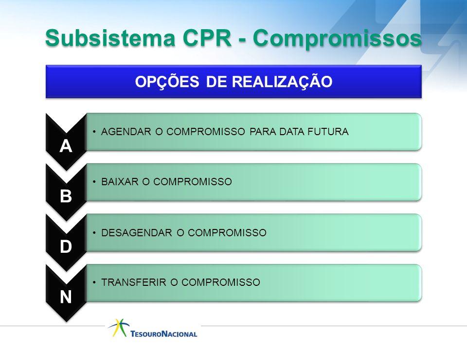 Subsistema CPR - Compromissos OPÇÕES DE REALIZAÇÃO A AGENDAR O COMPROMISSO PARA DATA FUTURA B BAIXAR O COMPROMISSO D DESAGENDAR O COMPROMISSO N TRANSF