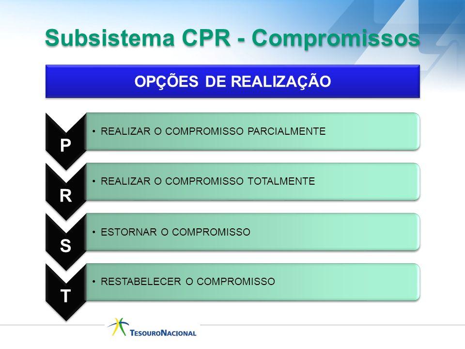 Subsistema CPR - Compromissos OPÇÕES DE REALIZAÇÃO P REALIZAR O COMPROMISSO PARCIALMENTE R REALIZAR O COMPROMISSO TOTALMENTE S ESTORNAR O COMPROMISSO