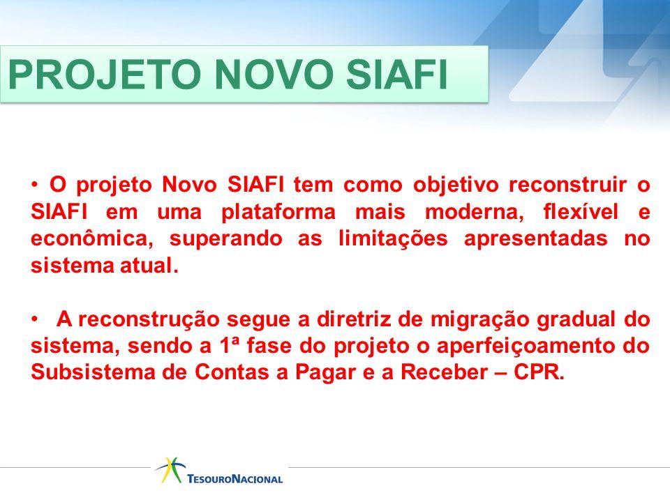PROJETO NOVO SIAFI O projeto Novo SIAFI tem como objetivo reconstruir o SIAFI em uma plataforma mais moderna, flexível e econômica, superando as limit