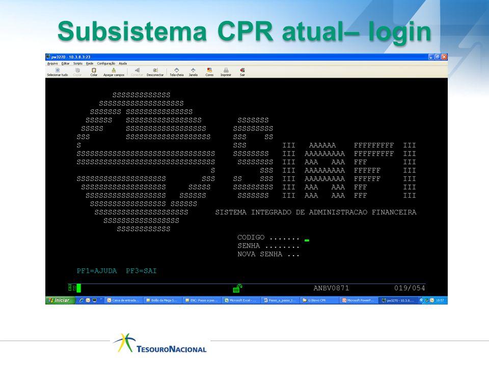 Subsistema CPR atual– login