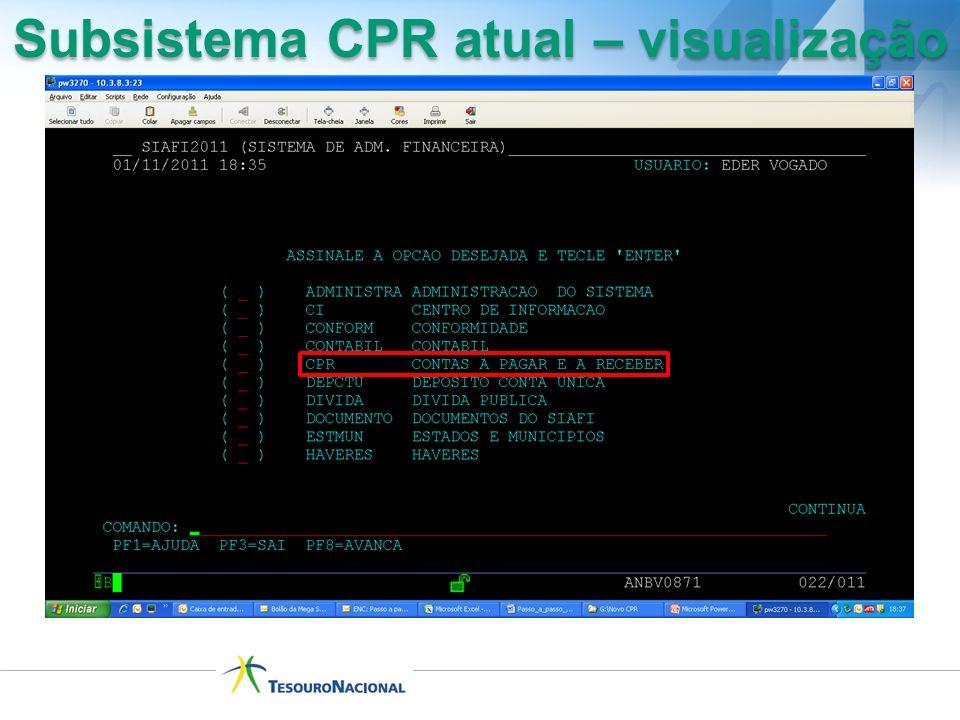 Subsistema CPR atual – visualização
