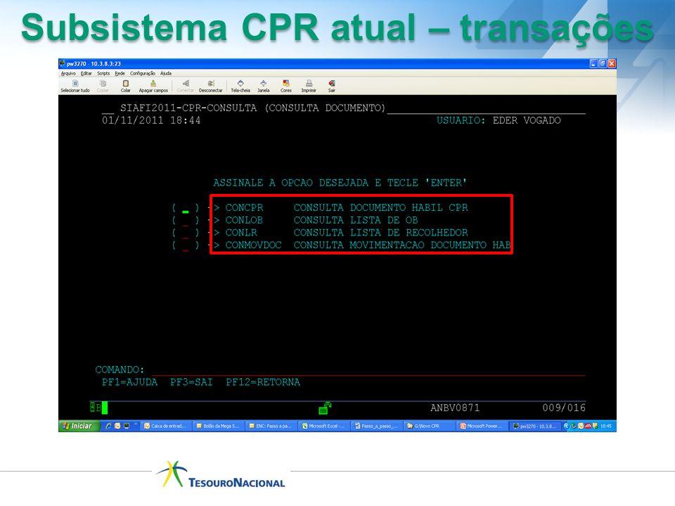 Subsistema CPR atual – transações