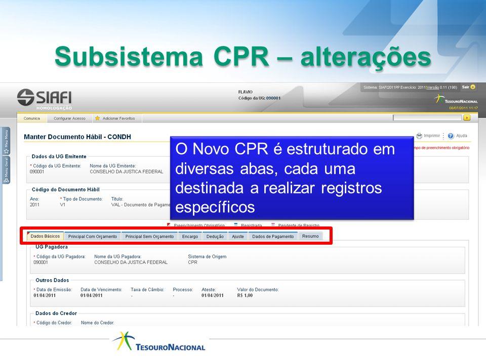 O Novo CPR é estruturado em diversas abas, cada uma destinada a realizar registros específicos