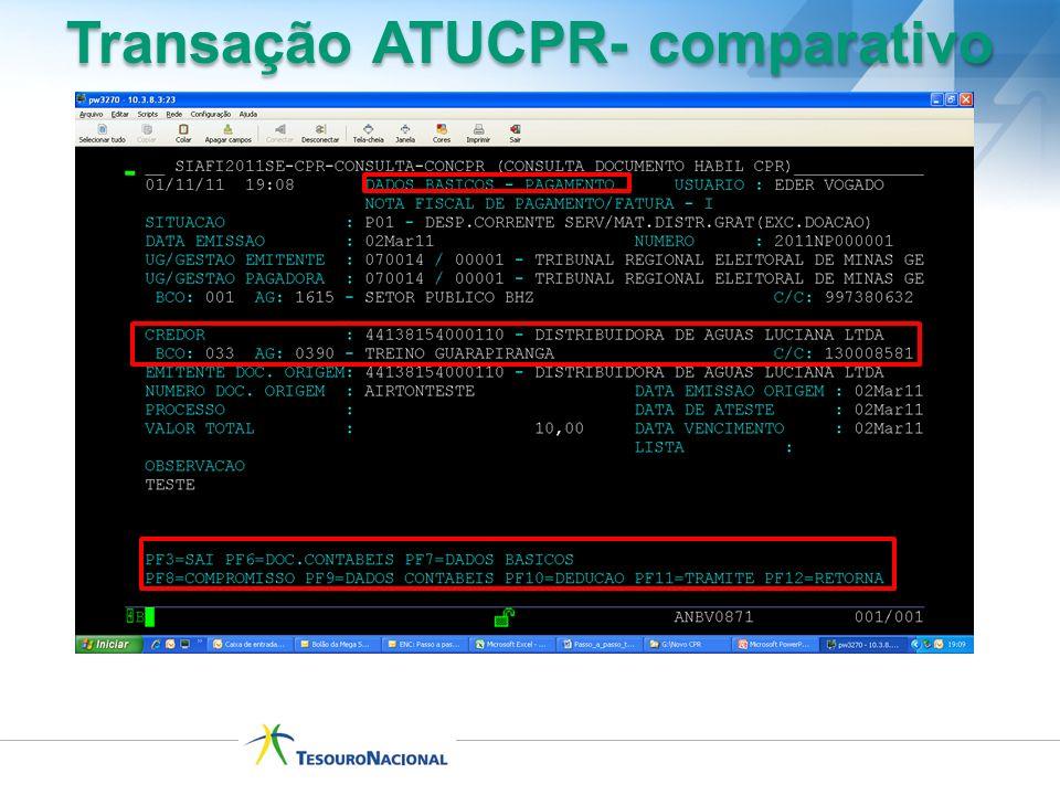Transação ATUCPR- comparativo