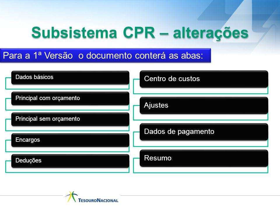 Subsistema CPR – alterações Para a 1ª Versão o documento conterá as abas: Dados básicosPrincipal com orçamentoPrincipal sem orçamentoEncargosDeduções