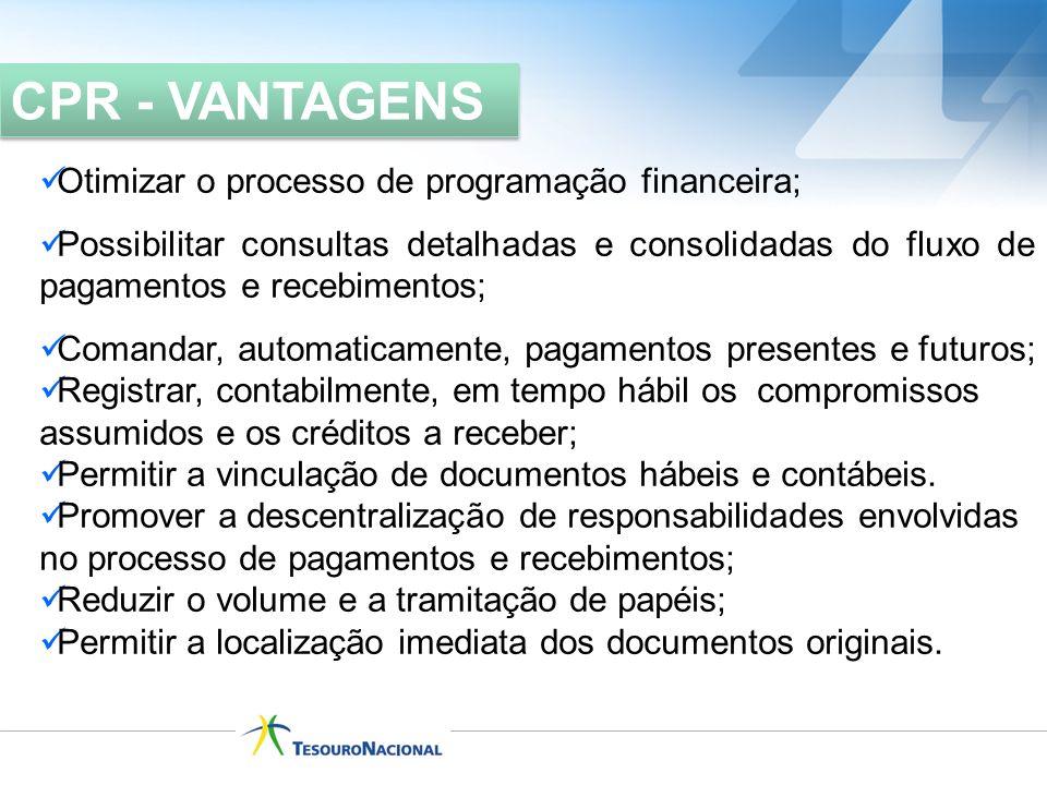 Otimizar o processo de programação financeira; Possibilitar consultas detalhadas e consolidadas do fluxo de pagamentos e recebimentos; Comandar, autom