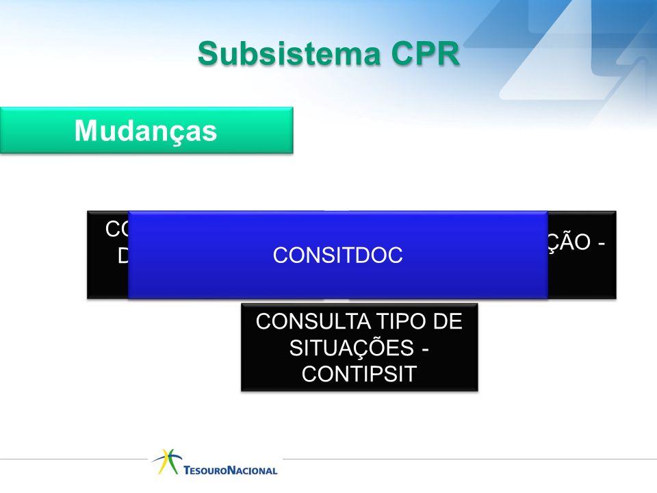 CONSULTA GRUPO DE SITUAÇÕES - CONGRUSIT CONSULTA SITUAÇÃO - CONSIT CONSITDOC Subsistema CPR Mudanças CONSULTA TIPO DE SITUAÇÕES - CONTIPSIT