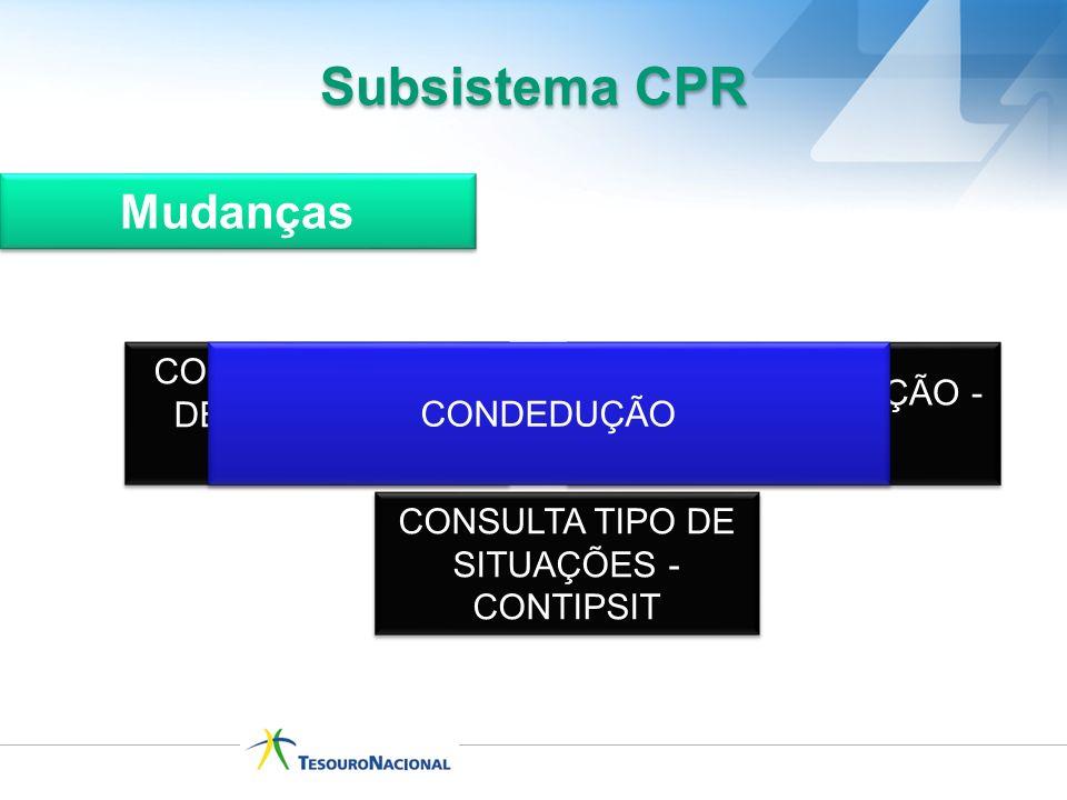 CONSULTA GRUPO DE SITUAÇÕES - CONGRUSIT CONSULTA SITUAÇÃO - CONSIT CONDEDUÇÃO Subsistema CPR Mudanças CONSULTA TIPO DE SITUAÇÕES - CONTIPSIT