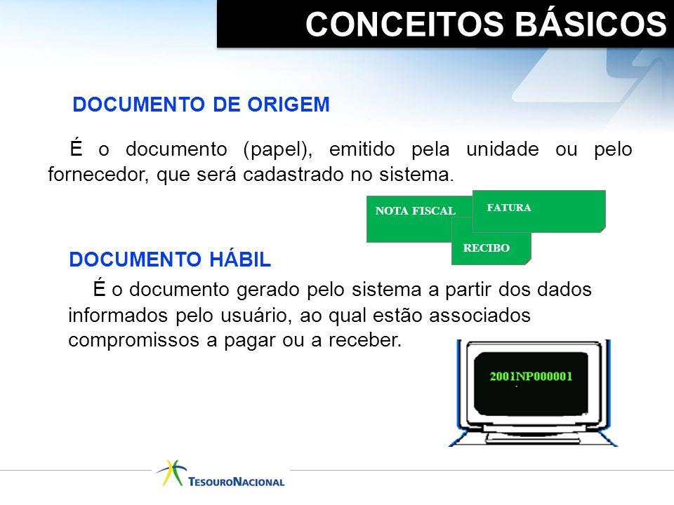 É o documento gerado pelo sistema a partir dos dados informados pelo usuário, ao qual estão associados compromissos a pagar ou a receber. DOCUMENTO HÁ