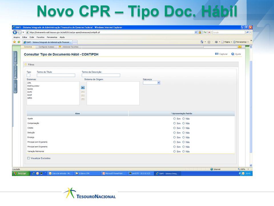 Novo CPR – Tipo Doc. Hábil