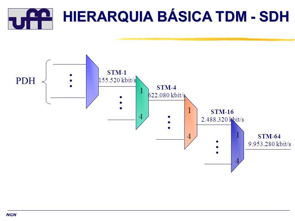 NGN Conceitos Básicos de SDH TRATAMENTO NO NÍVEL DE BYTE: O quadro SDH está organizado no nível de BYTE e não em bit como no PDH.Assim,os espaços de carga para os tributários são intercalados byte à byte.