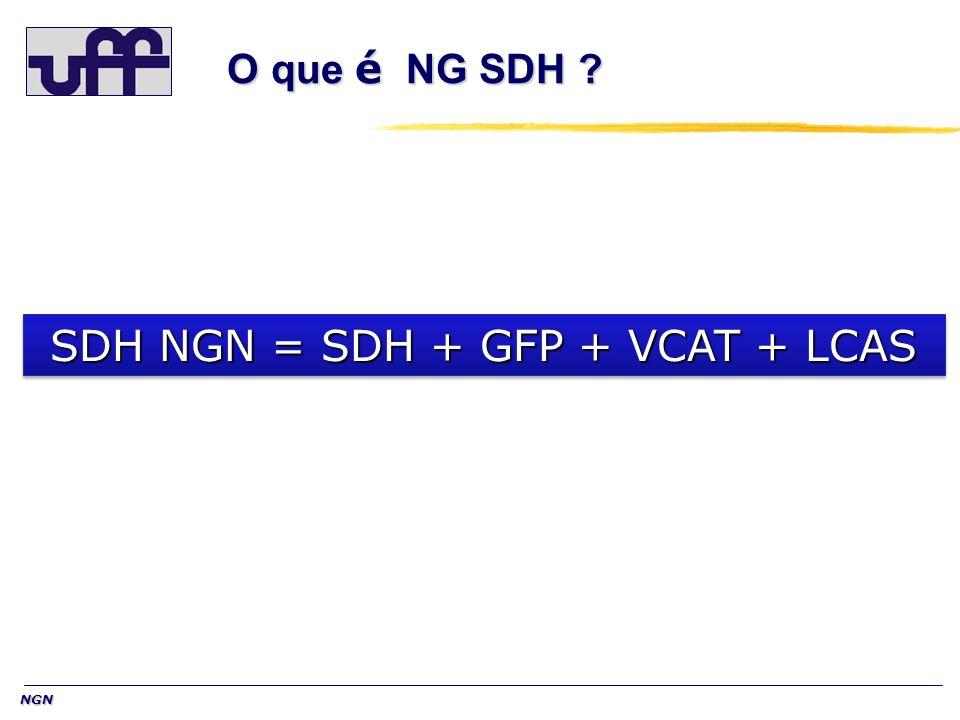 NGN O que é NG SDH ? SDH NGN = SDH + GFP + VCAT + LCAS