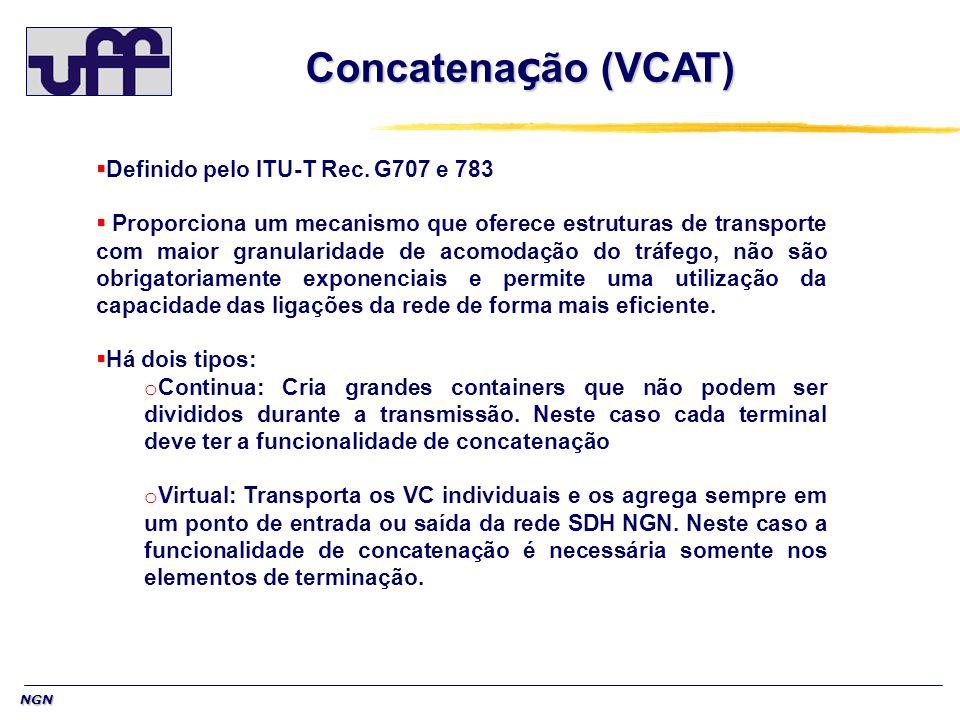 NGN Concatena ç ão (VCAT) Definido pelo ITU-T Rec. G707 e 783 Proporciona um mecanismo que oferece estruturas de transporte com maior granularidade de