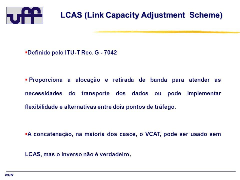 NGN LCAS (Link Capacity Adjustment Scheme) LCAS (Link Capacity Adjustment Scheme) Definido pelo ITU-T Rec. G - 7042 Proporciona a alocação e retirada