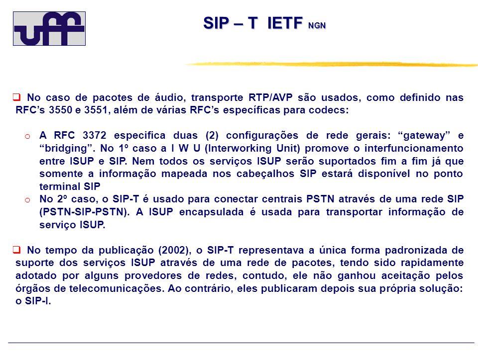 SIP – T IETF NGN No caso de pacotes de áudio, transporte RTP/AVP são usados, como definido nas RFCs 3550 e 3551, além de várias RFCs específicas para