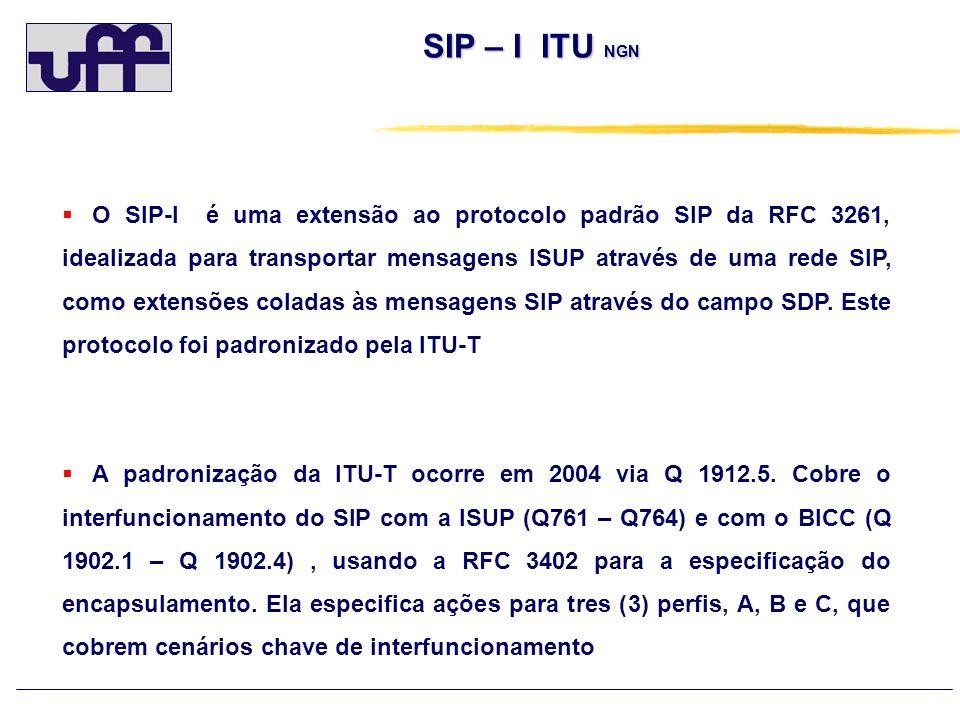 SIP – I ITU NGN SIP – I ITU NGN Perfil A: o SIP 3GPP - TS 24.229 - A função de controle do Media Gateway (MGCF) do 3GPP usa este perfil, com poucas e pequenas diferenças observadas em um apêndice da 3GPP TS 29.163.