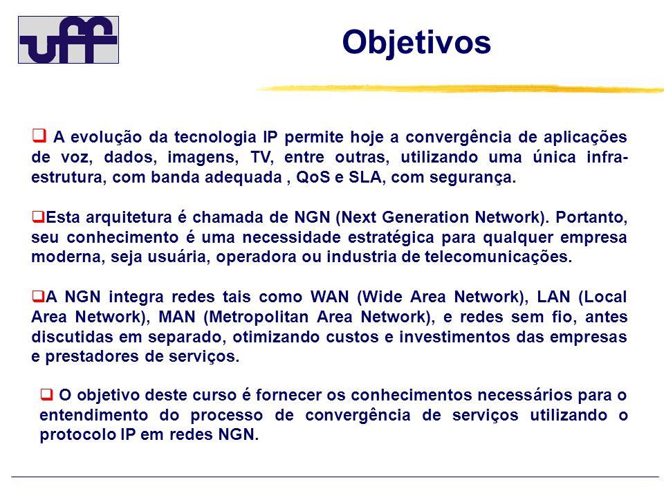 EVOLUÇÃO DA REDE CONVERGENTE 1887 – Invenção do telefone 1981 – Definição do IPv4 - (guerra fria) 1983 – ARPANET adota o TCP/IP 1987 – Início da experiência piloto da RDSI brasileira 1990 – Lançamento do Serviço Móvel (banda A) 1991 – Fim da URSS e da guerra fria 1993 – Início da exploração comercial da Internet 1995 – Início do projeto NGN pelo ITU e chegada da Internet no Brasil 1998 – Definição do IP v6 2000 – Internet Banda Larga e serviços de voz sobre IP 2005-10 – Convergência Multimídia orientada a serviços – NGN e 3G (2007) 2011 – Convergência NGN, IPv6 2014 – Soma de celulares, smartphones, notbooks e modens 3G deve chegar a 2,25 bilhões de aparelhos (fonte – NIC.BR)