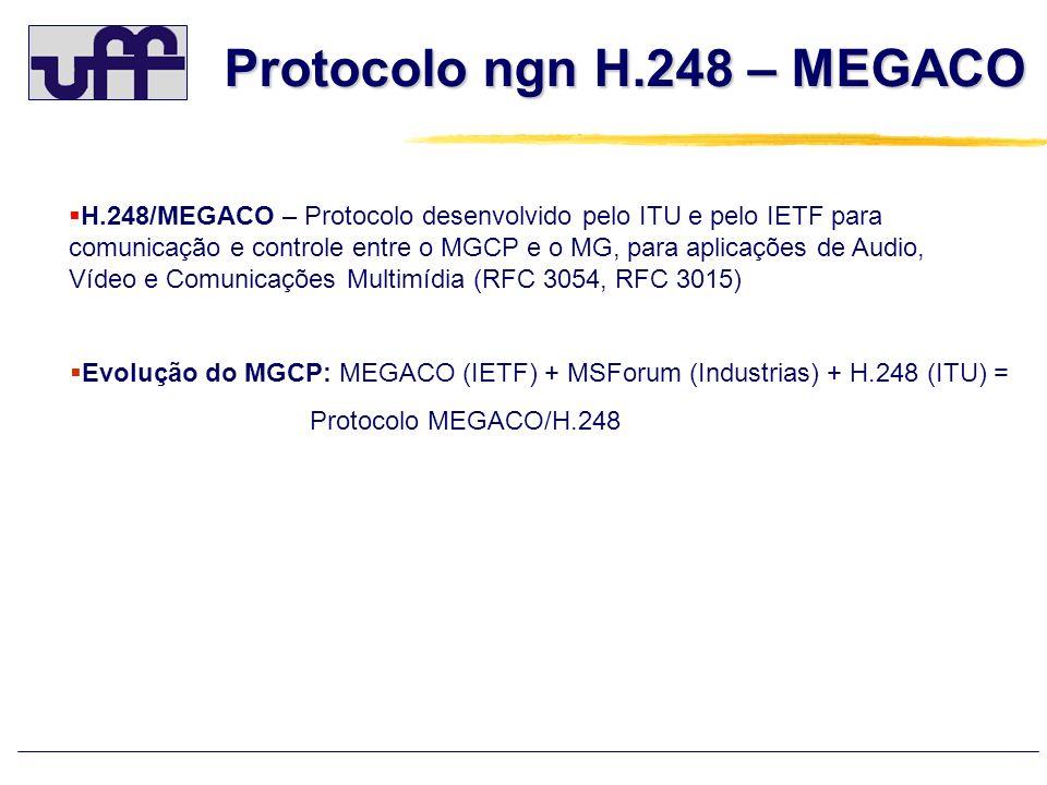 Protocolo ngn H.248 – MEGACO H.248/MEGACO – Protocolo desenvolvido pelo ITU e pelo IETF para comunicação e controle entre o MGCP e o MG, para aplicaçõ