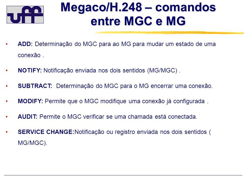 Megaco/H.248 – comandos entre MGC e MG ADD: Determinação do MGC para ao MG para mudar um estado de uma conexão. NOTIFY: Notificação enviada nos dois s