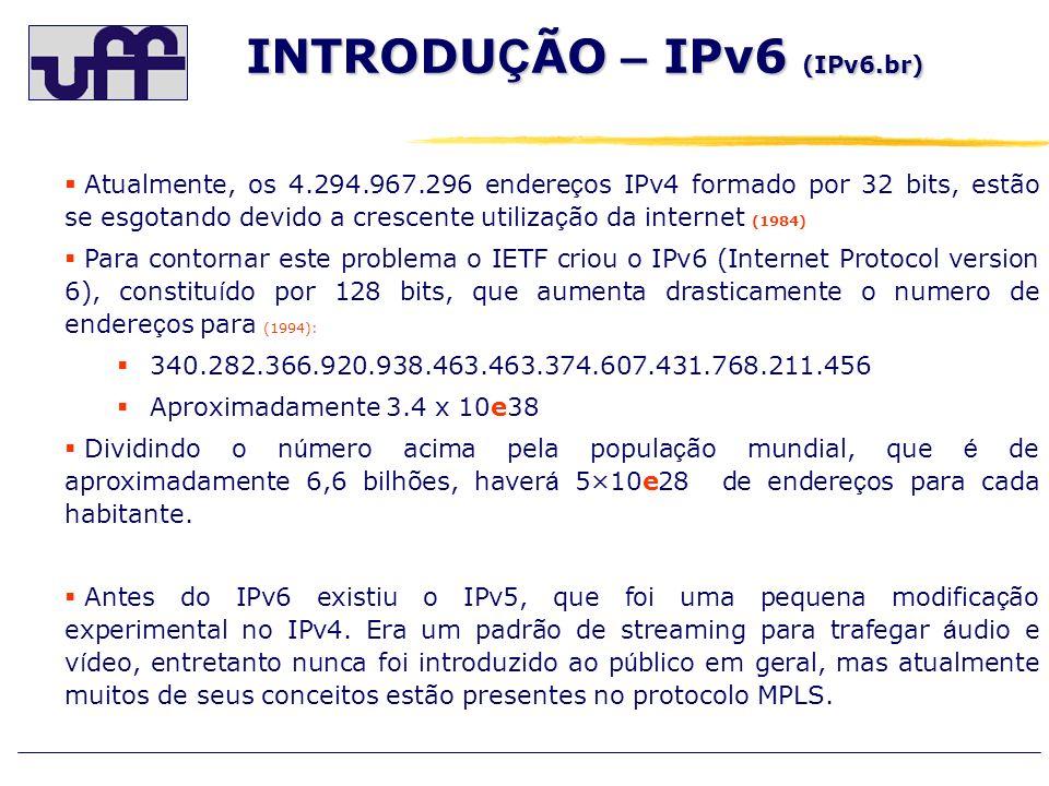 INTRODU Ç ÃO – IPv6 RIRs De acordo com as proje ç ões da IANA (Internet Assigned Numbers Authority) a exaustão dos endere ç os IPv4 ocorrer á em abril de 2011 (ocorreu em janeiro de 2011, conforme divulgação do IANA) e segundo a RIR (Regional Internet Registries) a previsão é para agosto de 2012.