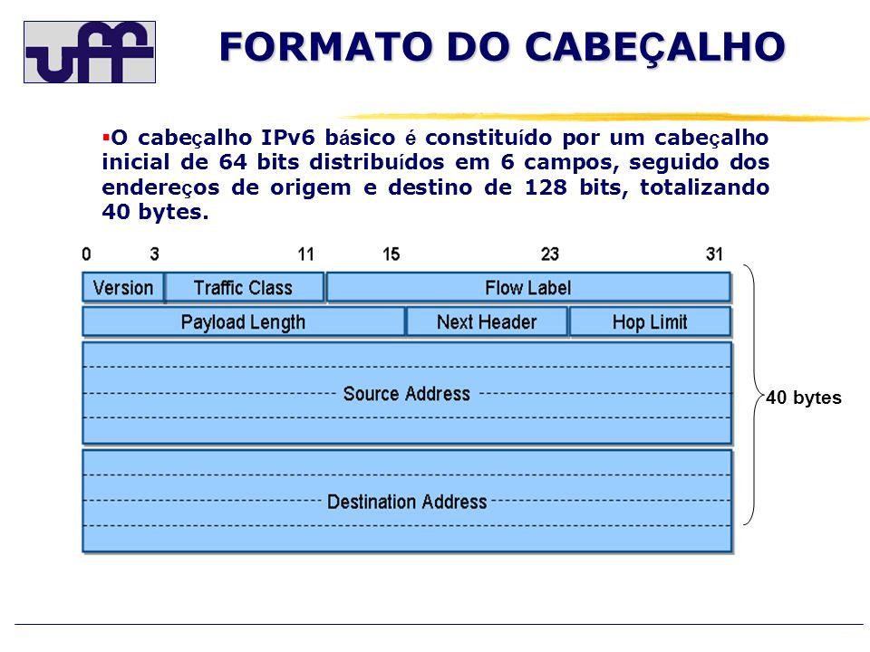 FORMATO DO CABE Ç ALHO O cabe ç alho IPv6 b á sico é constitu í do por um cabe ç alho inicial de 64 bits distribu í dos em 6 campos, seguido dos ender
