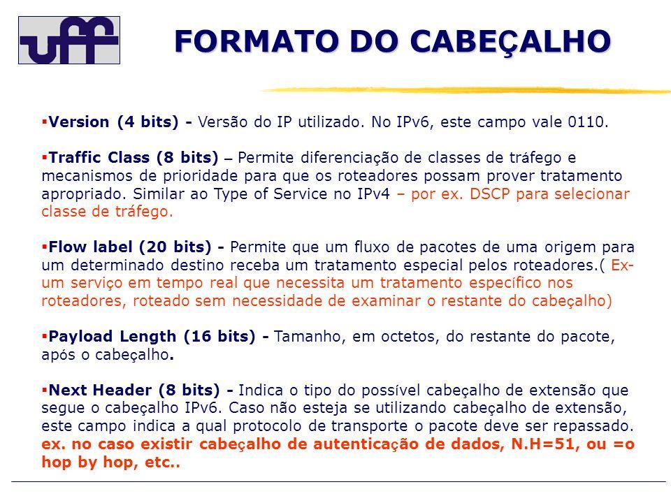 FORMATO DO CABE Ç ALHO Version (4 bits) - Versão do IP utilizado. No IPv6, este campo vale 0110. Traffic Class (8 bits) – Permite diferencia ç ão de c