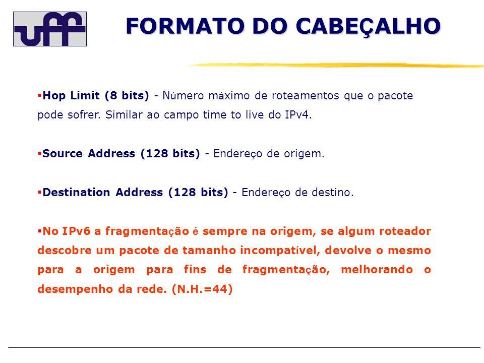 Hop Limit (8 bits) - N ú mero m á ximo de roteamentos que o pacote pode sofrer. Similar ao campo time to live do IPv4. Source Address (128 bits) - End