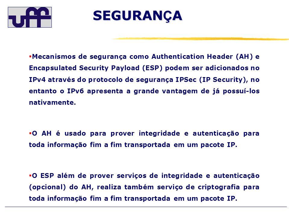SEGURAN Ç A Mecanismos de segurança como Authentication Header (AH) e Encapsulated Security Payload (ESP) podem ser adicionados no IPv4 através do pro