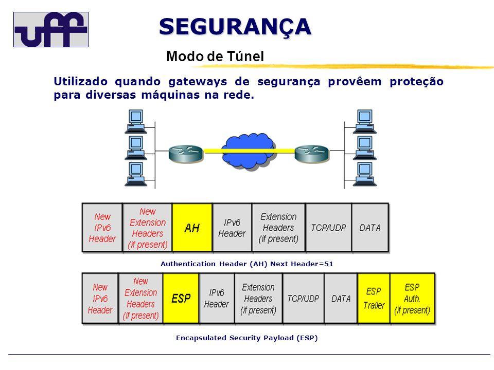 SEGURAN Ç A Modo de Túnel Utilizado quando gateways de segurança provêem proteção para diversas máquinas na rede. Authentication Header (AH) Next Head