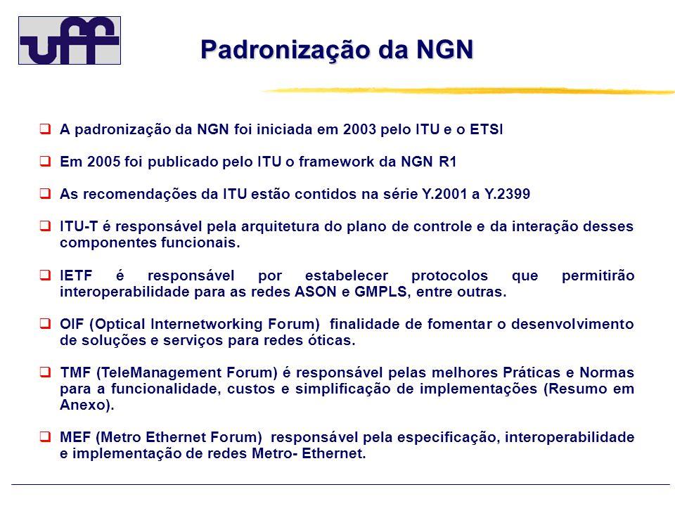 Padronização da NGN A padronização da NGN foi iniciada em 2003 pelo ITU e o ETSI Em 2005 foi publicado pelo ITU o framework da NGN R1 As recomendações da ITU estão contidos na série Y.2001 a Y.2399 ITU-T é responsável pela arquitetura do plano de controle e da interação desses componentes funcionais.