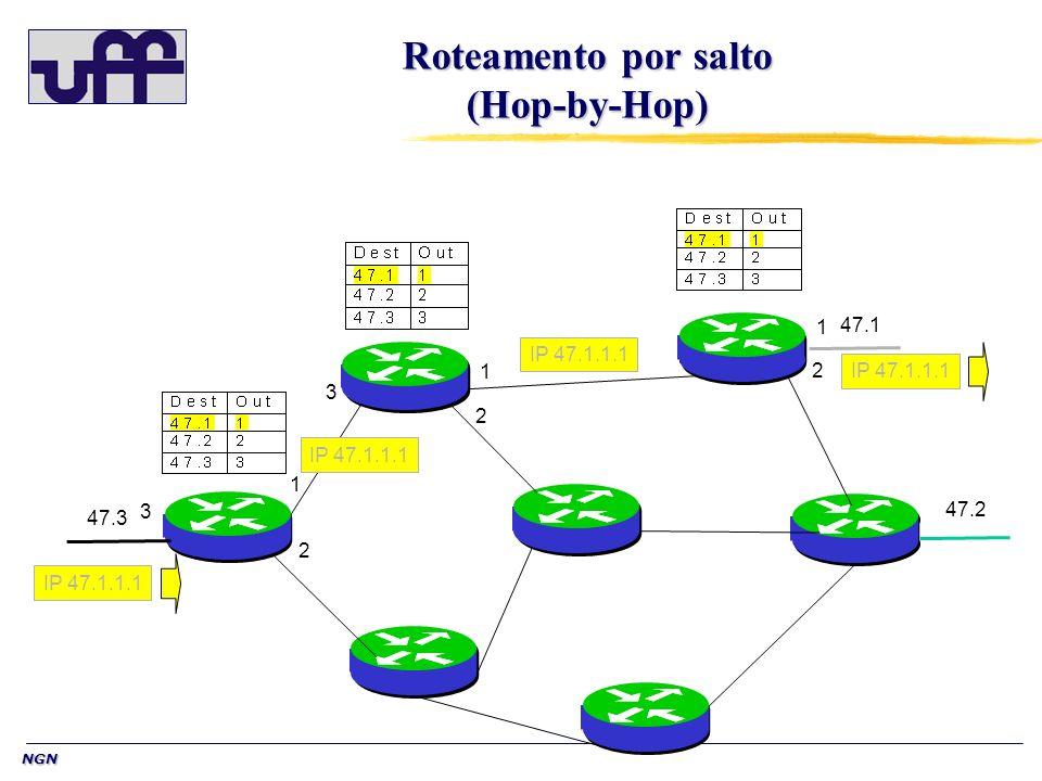 NGN Roteamento por salto (Hop-by-Hop) 47.1 47.2 47.3 IP 47.1.1.1 1 2 3 1 2 1 2 3