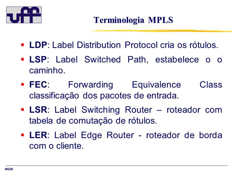 NGN Label Distribution Protocol (LDP) O LDP (Label Distribution Protocol – realiza o controle de rólutos) Tem a função de disseminar as informações utilizadas para criar e manter as tabelas de encaminhamento (LIB-Label Information Base) nos LSR, permitindo assim que os pacotes sejam encaminhados corretamente.