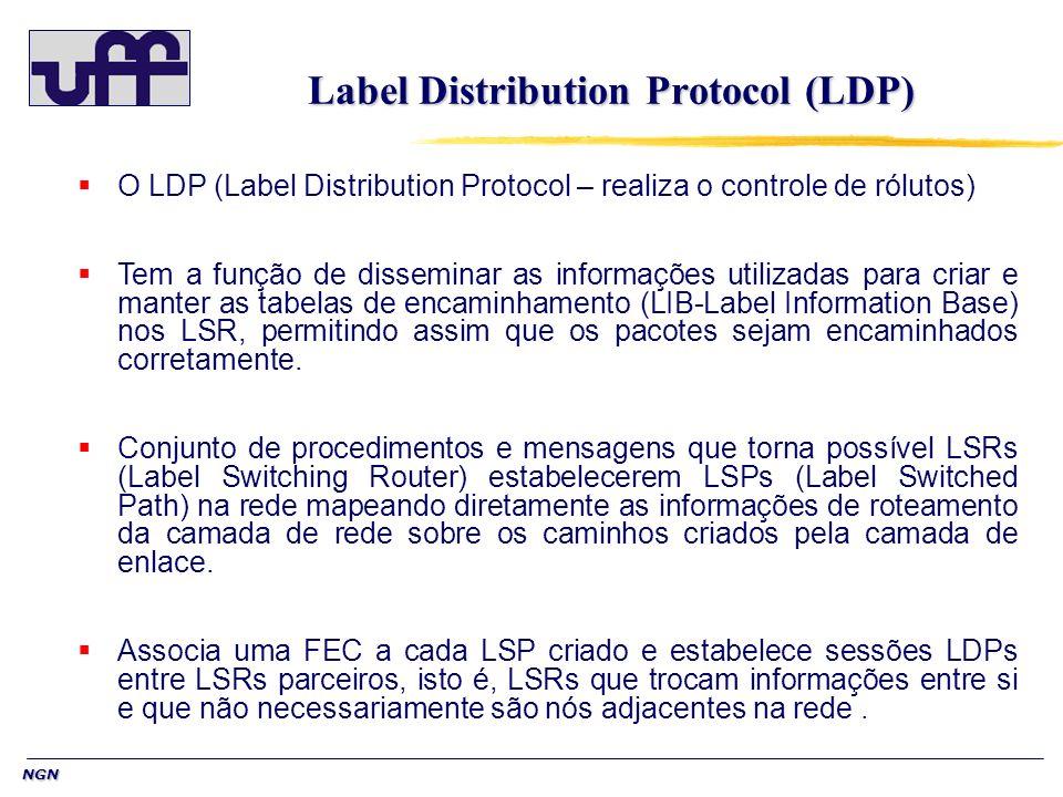 NGN Label Distribution Protocol (LDP) O LDP (Label Distribution Protocol – realiza o controle de rólutos) Tem a função de disseminar as informações ut